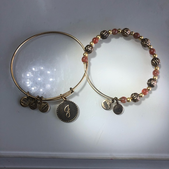 Alex and Ani Jewelry - 2 Alex & Ani Gold Bracelets, Initial J & Gold Bead
